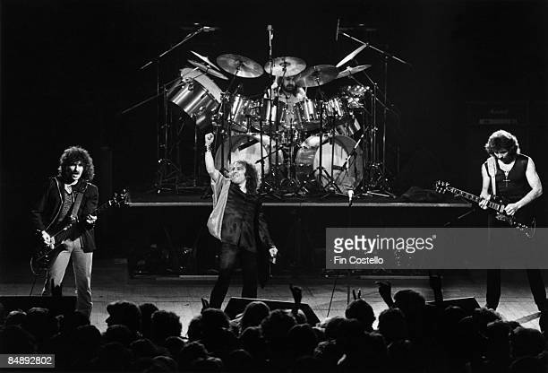 Photo of Tony IOMMI and Geezer BUTLER and Ronnie DIO and BLACK SABBATH LR Geezer Butler Ronnie Dio Bill Ward Tony Iommi performing live onstage