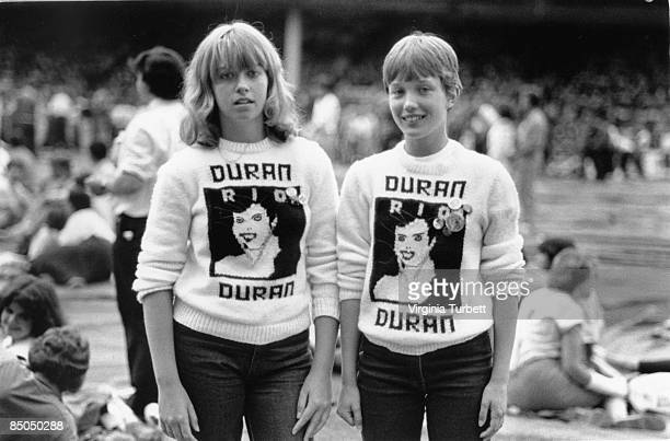 BIRMINGHAM Photo of TSHIRT and TEENAGERS and DURAN DURAN and 80'S STYLE Duran Duran fans at Villa Park MENCAP benefit concert wearing home knitted...