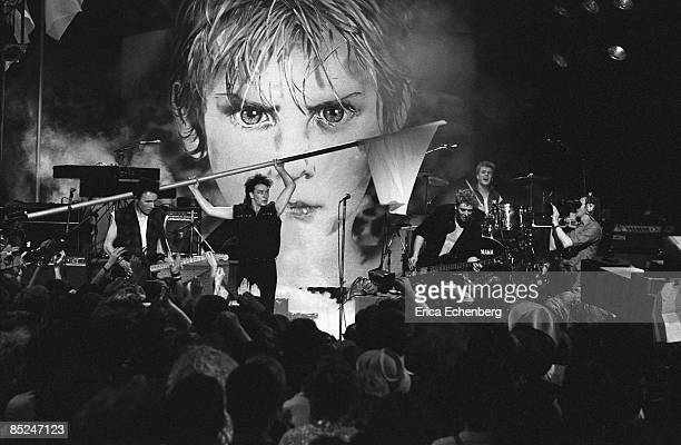 Photo of U2 LR The Edge Bono Adam Clayton Larry Mullen Jnr performing live on The Tube TV Show