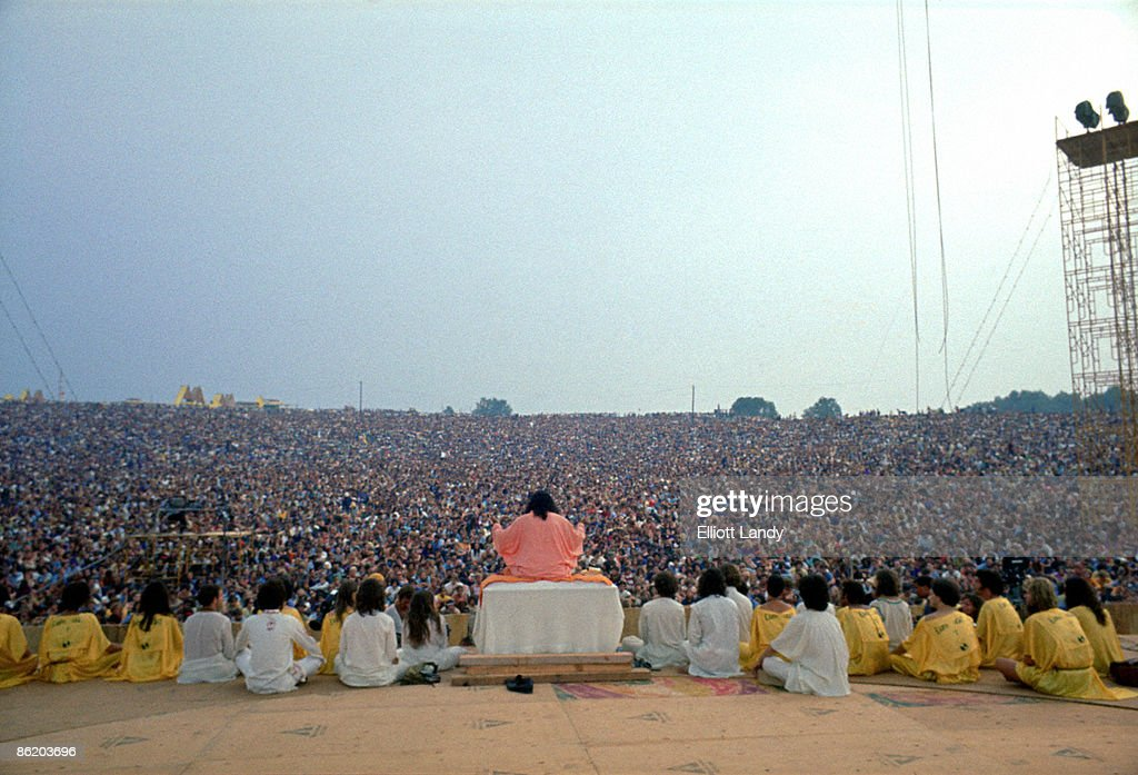 FESTIVAL Photo of VIEW FROM BACK OF STAGE and Swami SATCHIDINANDA and WOODSTOCK, Swami Satchidinanda