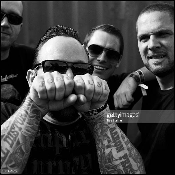 FESTIVAL Photo of VOLBEAT and Jon LARSEN and Michael POULSEN and Thomas BREDAHL and Andrers KJOLHOLM LR Jon Larsen Michael Poulsen Thomas Bredahl...