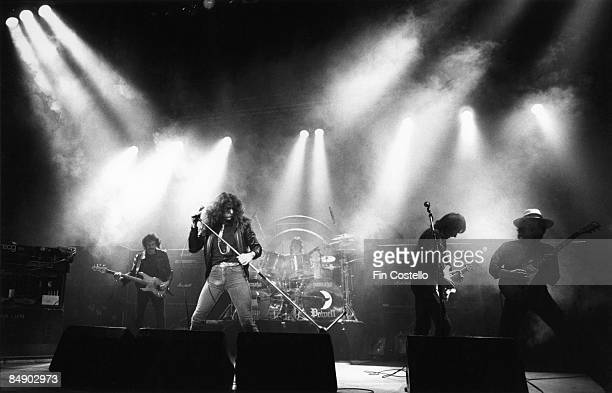 THEATRE Photo of WHITESNAKE and Colin HODGKINSON and David COVERDALE and Cozy POWELL and Mel GALLEY and Mick MOODY Group performing on stage LR Colin...