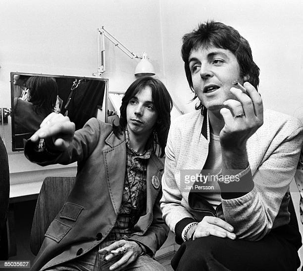 Photo of Wings 18 rockgroup Wings pressmeeting Copenhagen March 20 1976 Here Jimmy McCulloch and Paul McCartney