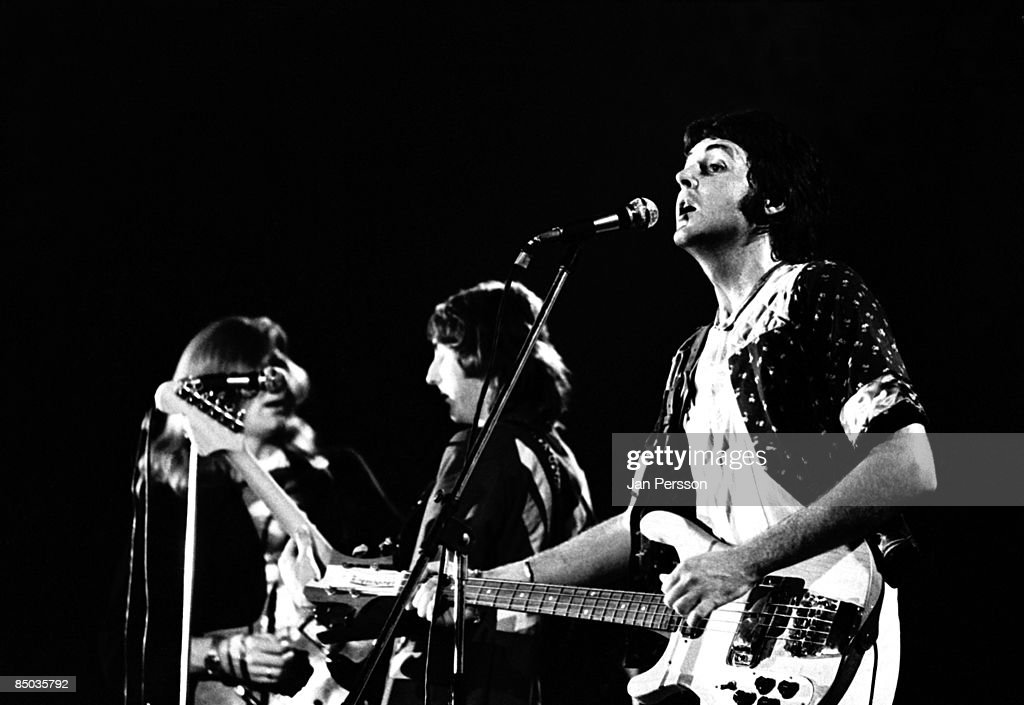 Photo of Wings 5; Rockgroup Wings with Paul McCartney Copenhagen August 1972, In the back Henry Culloch and Denny Laine