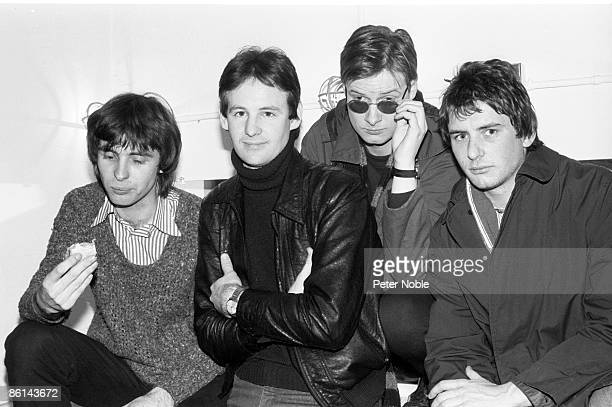 Photo of XTC and Colin MOULDING and Andy PARTRIDGE and Dave GREGORY and Terry CHAMBERS Posed group portrait LR Colin Moulding Dave Gregory Andy...