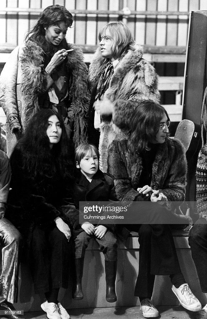 Photo of Yoko ONO and Julian LENNON and Brian JONES and John LENNON LR Donyale Luna Brian Jones Yoko Ono Julian Lennon John Lennon on he set of The...