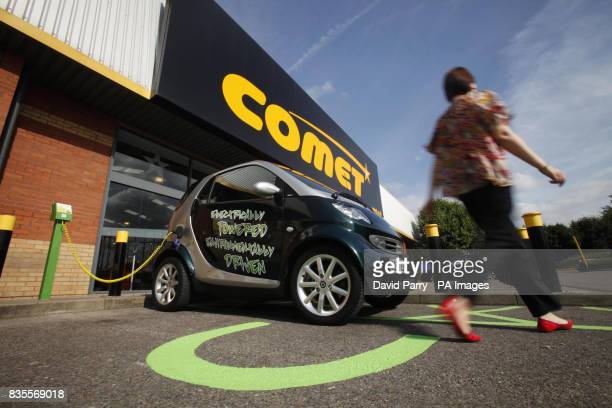 Photo Previously unreleased photo dated of motorist Carla Evans leaving her electric car to charge at Comet's Plug Go point in Purley Way Croydon for...