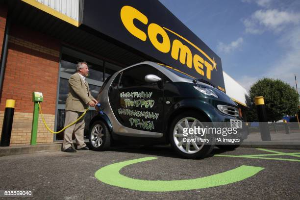 Photo Previously unreleased photo dated of motorist Ken Clifford charging his electric car at Comet's Plug Go point in Purley Way Croydon for the...