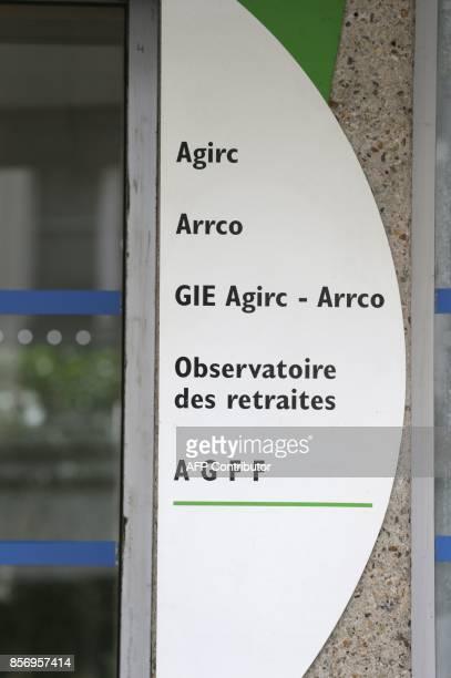 Photo prise le 16 ocotbre 2012 à Paris de l'entrée des organismes de retraite complémentaire Agirc et Arrco L'Agirc gère le régime de retraite...