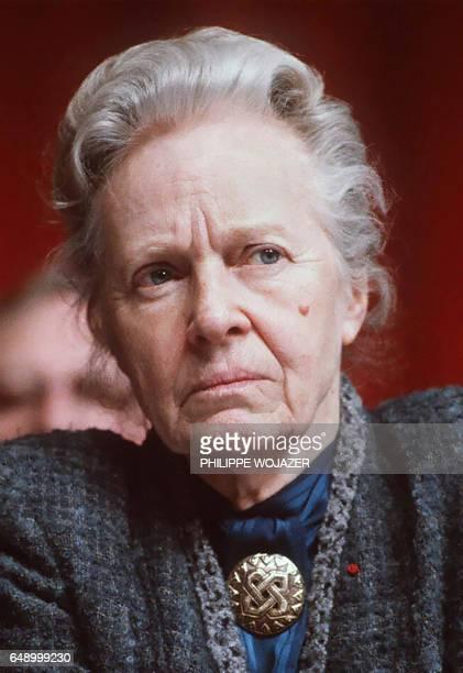 Photo prise le 18 février 1983 de MarieClaude VaillantCouturier grande résistante et membre du Comité central du Parti communiste de 1945 à 1985 qui...
