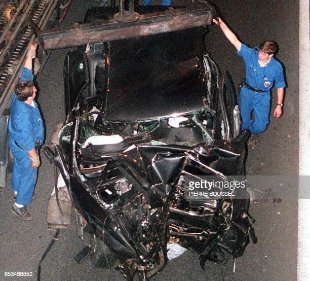 Photo prise le 31 août1997 dans le tunnel de l'Alma à Paris de la Mercedes dans laquelle la princesse Diana son ami Dodi AlFayed et leur chauffeur...