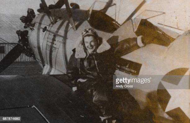 Photo provided by the Tedeschi family shows Jane Tedeschi next to one of the aircraft she flew in the WWII era as a WASP Tedeschi flew military...