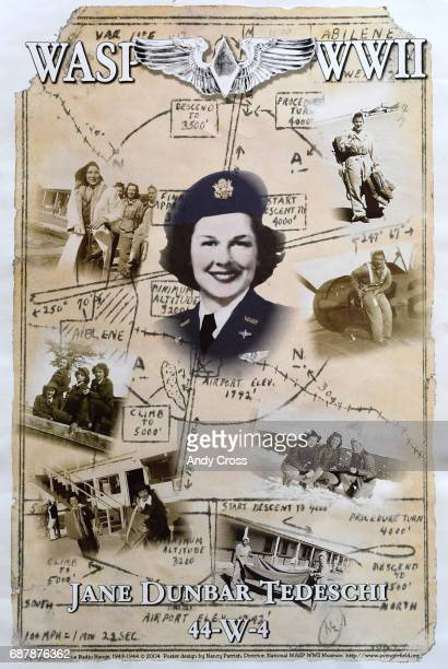Photo provided by the Tedeschi family shows WASP Jane Tedeschi in a montage of photographs on a poster Tedeschi flew military aircraft during WWII...