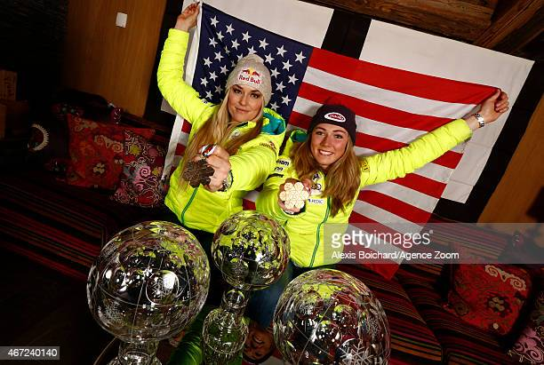 Photo shoot with American World Championship medallists and World Cup globe winners Mikaela Shiffrin and Lindsey Vonn during the Audi FIS Alpine Ski...