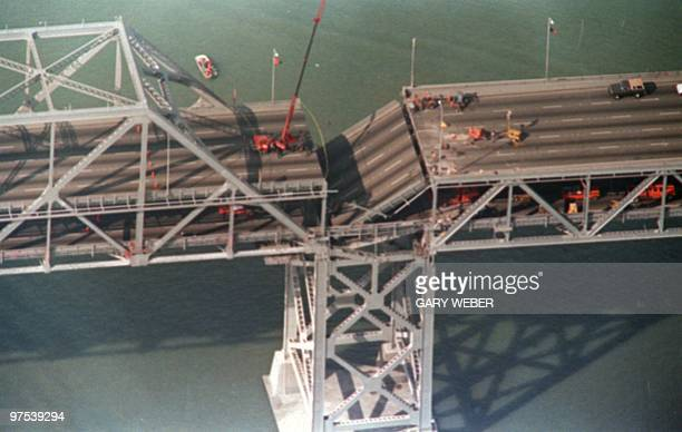 Photo shot 22 OCT 89 shows a collapsed portion of the Bay Bridge at Oakland after the earthquake that rocked northern California