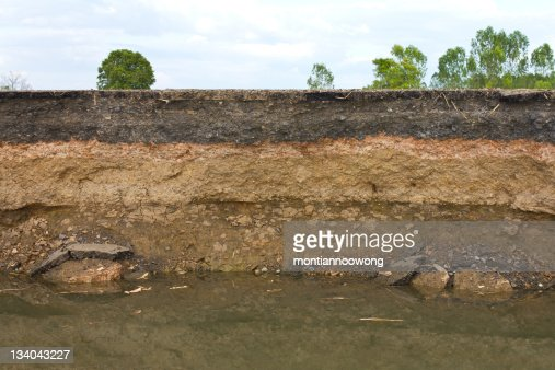 Photo showing layers of earth beneath the asphalt : Stock Photo