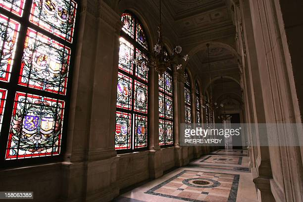 A photo showing stainedglass windows in the 'Galerie des Vitraux' of the Paris City Hall 10 August 2006