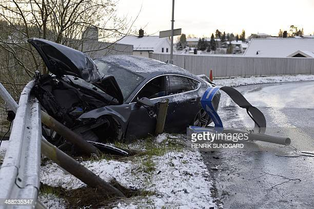 photo showing the remains of an Audi car belonging to Norwegian nordic skier Petter Northug after he crashed in the Byasen area of Trondheim in...