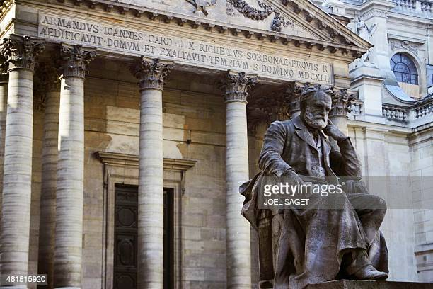 A photo showing the statue of Victor Hugo near the chapel in the courtyard of the Sorbonne university 10 October 2006 in Paris La Sorbonne University...