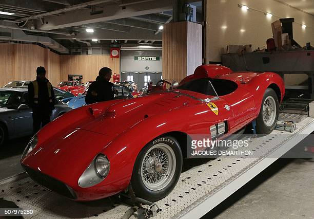 A photo shows a 1957 Ferrari 335S Spider Scaglietti car valued at more than 32 millions of euros on February 2 2016 in Paris ahead of a sports car...