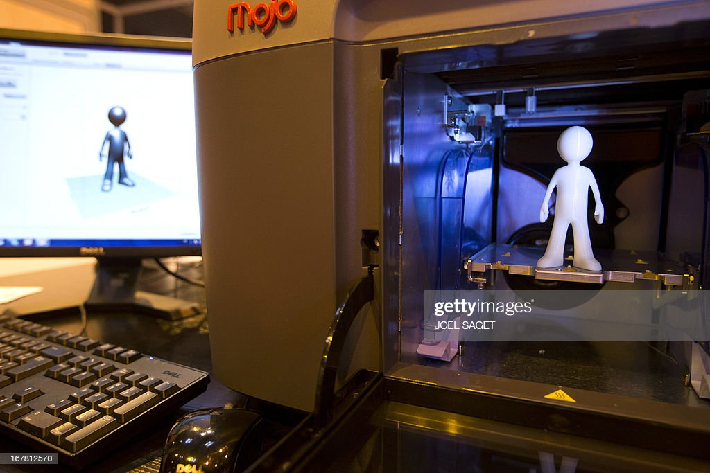 A photo shows a 3D Mojo printer made by the Stratasys company presented on April 30, 2013 during the 2013 Concours Lepine as part of Paris' Fair at the Porte de Versailles exhibition in Paris. The Concours Lepine is a French inventors' contest created in 1901.