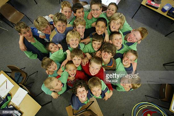 Photo shows a class of grade 4 and 5 boys at Appin Primary School in Wangaratta who have had their class turned to a single sex class in the interest...
