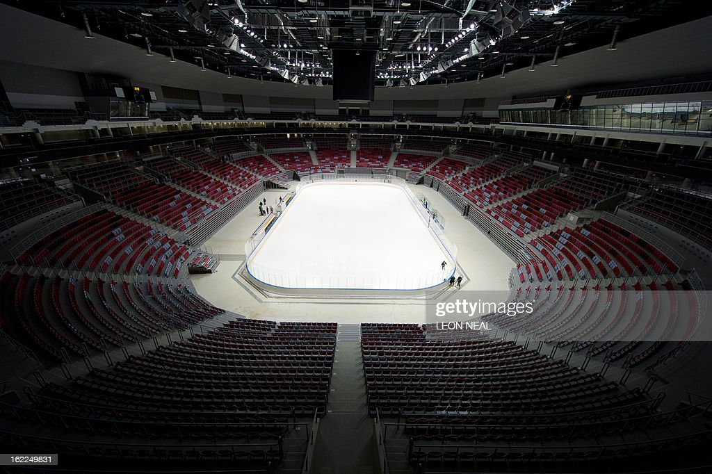 Photo shows a general view of the Bolshoi Ice Palace ice hockey venue at the Olympic Park in Adler, Russia on February 21, 2013. With a year to go until the Sochi 2014 Winter Games, construction work continues as test events and World Championship competitions are underway.