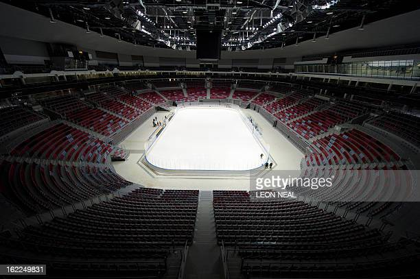 Photo shows a general view of the Bolshoi Ice Palace ice hockey venue at the Olympic Park in Adler Russia on February 21 2013 With a year to go until...