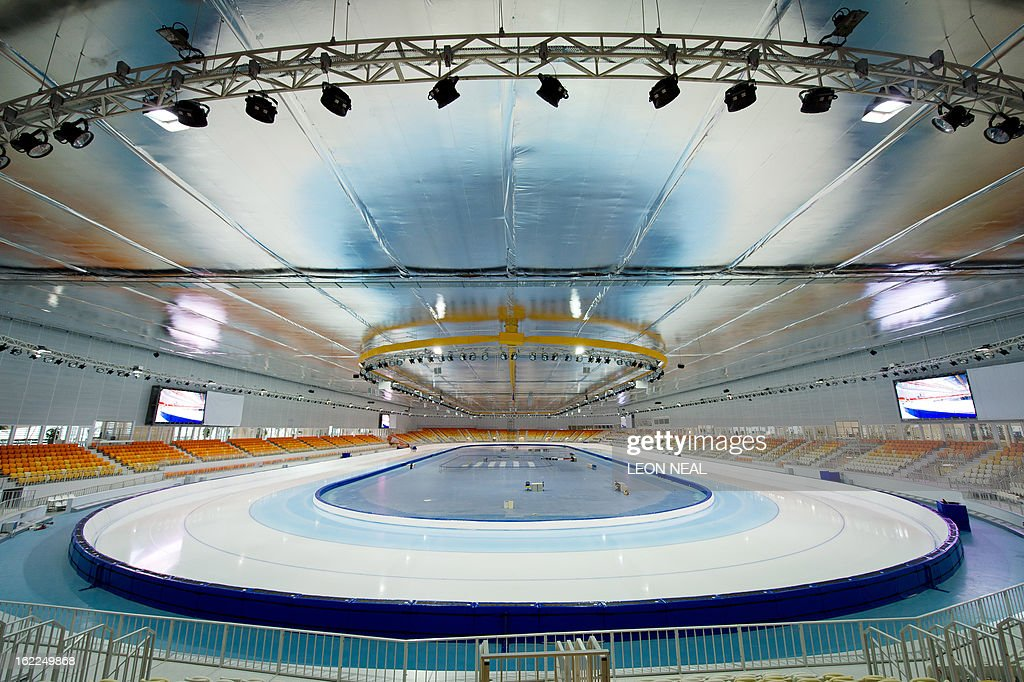 Photo shows a general view of the speed-skating venue at the Olympic Park in Adler, Russia on February 21, 2013. With a year to go until the Sochi 2014 Winter Games, construction work continues and test events and World Championship competitions are underway.