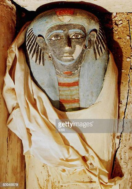 Photo shows a mummy found by a research team from Japan's Waseda University 05 January in an unrobbed tomb believed to date back to more than 3500...