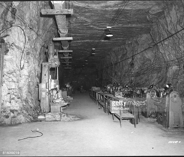 Photo shows a secret Nazi factory two miles underground Thil France September 25 1944 It was believed to have manufactured parts for flying bombs
