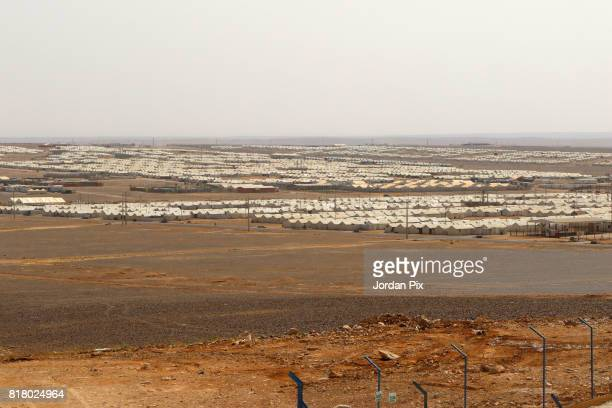 Photo shows a skyline of the Azraq camp for Syrian refugees the newest camp in Jordan that hosts 54000 refugees in northeastern desert in Azraq...