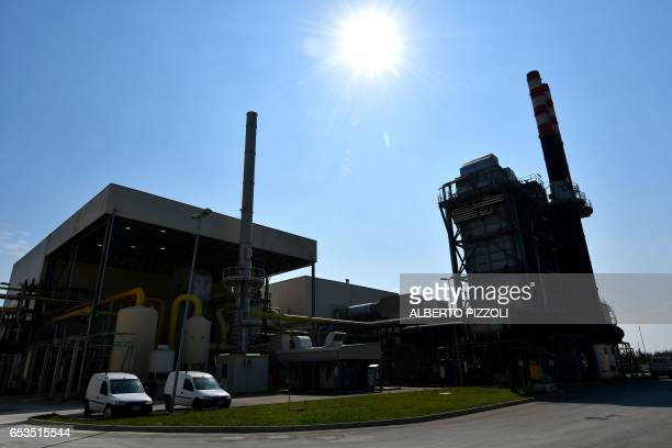 A photo shows a view of the French sugar cooperative Cristal UnionSFIR Raffineria di Brindisi sugar refinery power plant in Brindisi on March 15 2017...