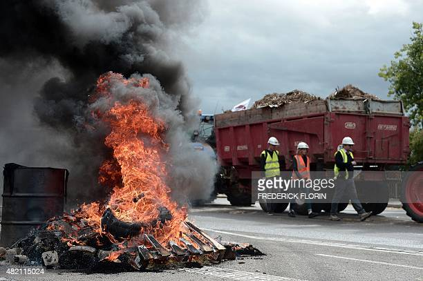 A photo shows burning tyres as farmers block access to vehicles during a protest on a bridge between France and Germany in Strasbourg eastern France...