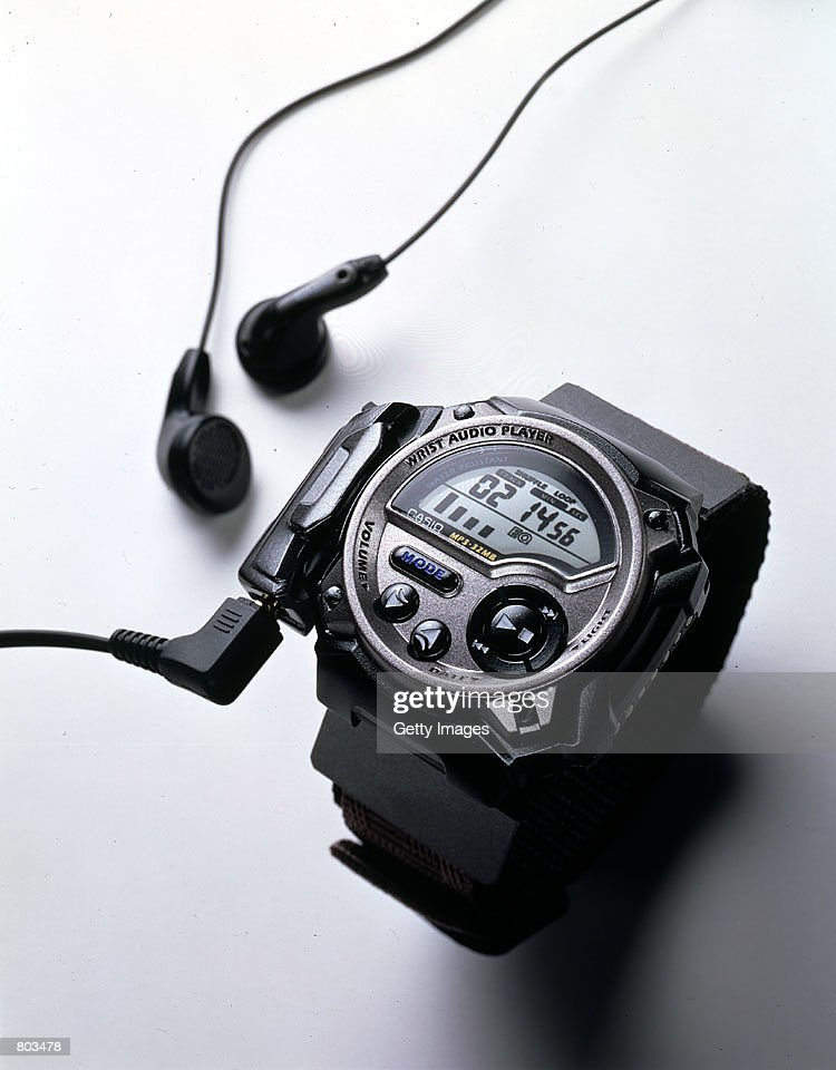 Photo shows CASIO's recently released amazing new WMP1V Wrist Audio Player the world's first wristtype wearable MP3 player