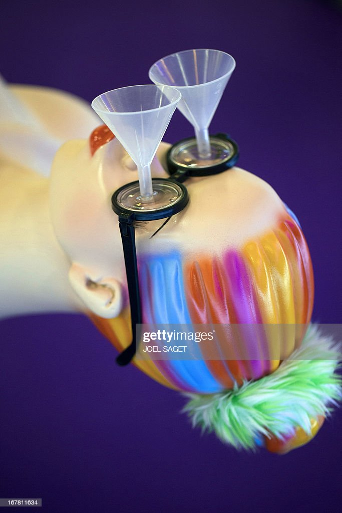 A photo shows 'chindogu' glasses with funnels presented on April 30, 2013 during the 2013 Concours Lepine as part of Paris' Fair at the Porte de Versailles exhibition in Paris. The Concours Lepine is a French inventors' contest created in 1901. The word 'Chindogu' translates as 'weird tools' and refers to the founder of the International Chindogu Society, Kenji Kawakami, who has invented hundreds of bizzare and absurd items.