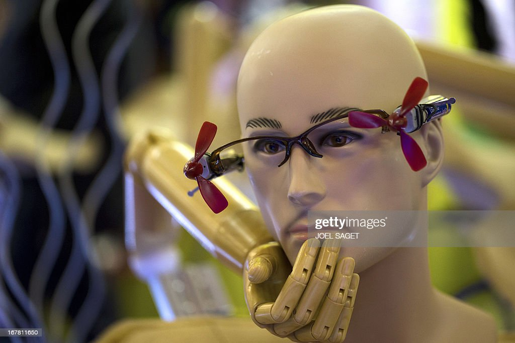 A photo shows 'chindogu' glasses with propellers presented on April 30, 2013 during the 2013 Concours Lepine as part of Paris' Fair at the Porte de Versailles exhibition in Paris. The Concours Lepine is a French inventors' contest created in 1901. The word 'Chindogu' translates as 'weird tools' and refers to the founder of the International Chindogu Society, Kenji Kawakami, who has invented hundreds of bizzare and absurd items.
