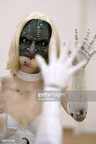 A photo shows 'Female figure' an animatronic sculpture of a woman by US artist Jordan Wolfson at Stedelijk Museum in Amsterdam on February 20 2017 /...