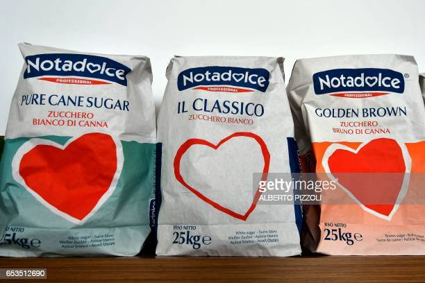 A photo shows French sugar cooperative Cristal Union products at the SFIR Raffineria di Brindisi sugar refinery in Brindisi on March 15 2017 Cristal...
