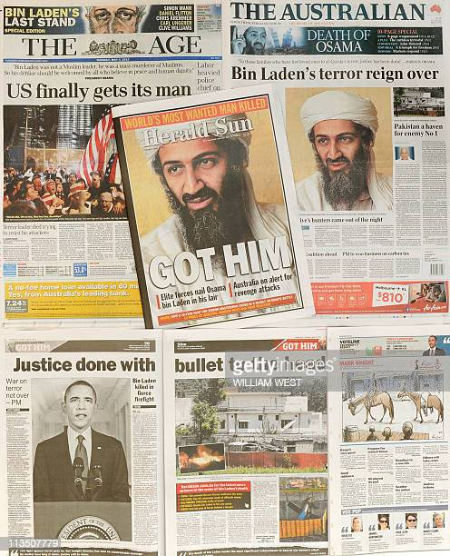 A photo shows front page and inside newspaper coverge in Melbourne on May 3 of the death of Osama bin Laden in a firefight with US troops in Pakistan...