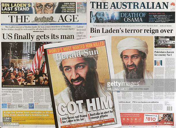A photo shows front page coverge in Melbourne on May 3 of the death of Osama bin Laden in a firefight with US troops in Pakistan As Australians...