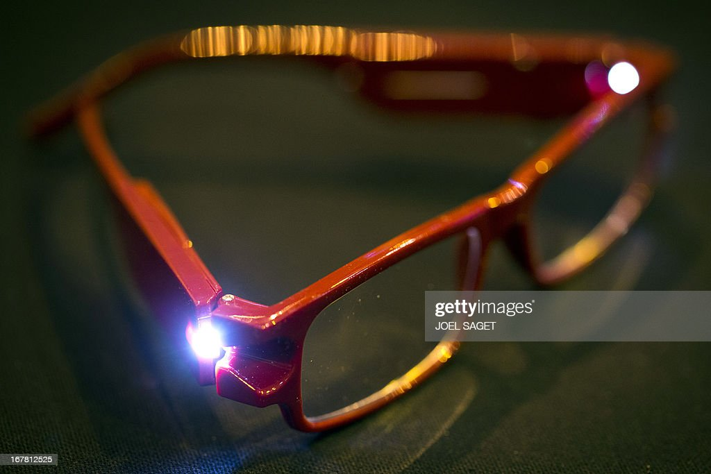 A photo shows glasses with led lights created by Michel Benchimol presented on April 30, 2013 during the 2013 Concours Lepine as part of Paris' Fair at the Porte de Versailles exhibition in Paris. The Concours Lepine is a French inventors' contest created in 1901.