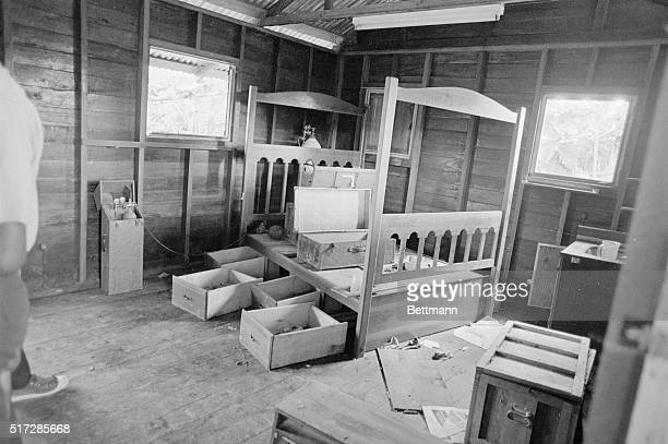 Photo shows Jim Jones' bed inside his living quarters at Jonestown