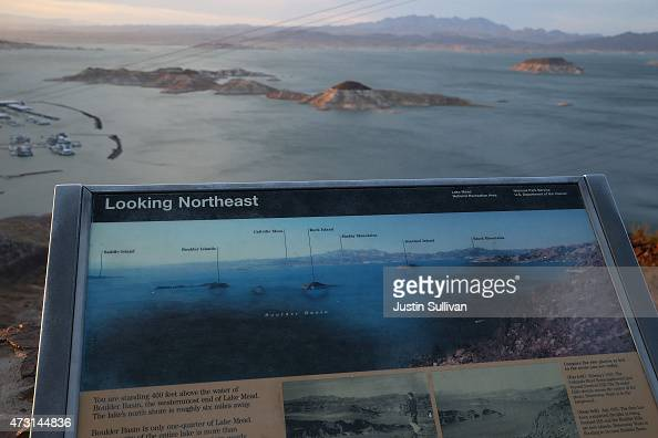 A photo shows Lake Mead with higher water levels that do not match current conditions on May 12 2015 in Lake Mead National Recreation Area Nevada As...