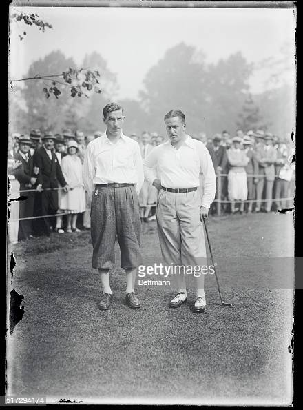 Photo shows left to right C Ross Somerville and Bobby Jones before play Bobby Jones defeats Canadian titleholder at National Amateur Shooting...
