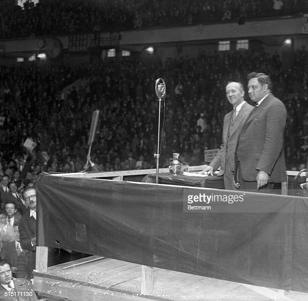Photo shows left to right William Z Foster presidential candidate and Benjamin Gitlow Vice presidential candidate of the Workers Party on the...