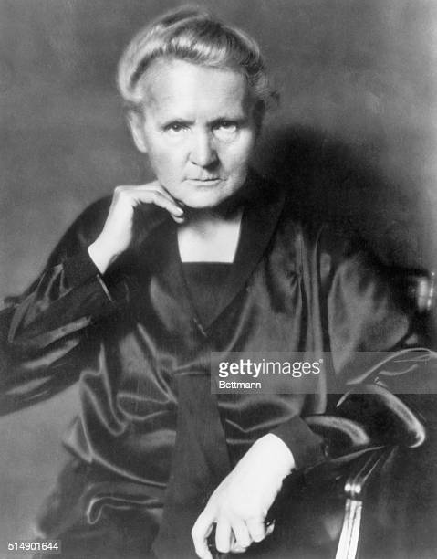 Photo shows Marie Curie physical chemist seated in a waistup portrait She coined the term 'Radioactivity' discovered polonium and radium was awarded...