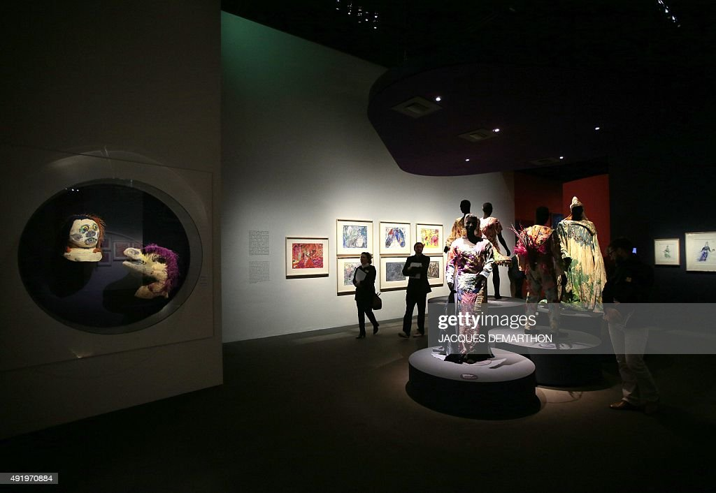 A photo shows masks and costumes created for the opera 'The Magic Flute' by Mozart on display at the exhibition 'Marc Chagall Le Triomphe de la...