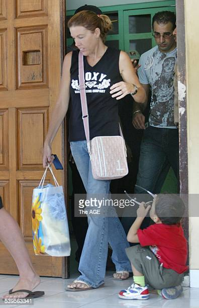 Photo shows Mercedes Corby leaving the Kerobokan jail in Bali with Ron Bakir after visiting Schapelle with and Robyn Tampoe on 25th May 2005 THE AGE...