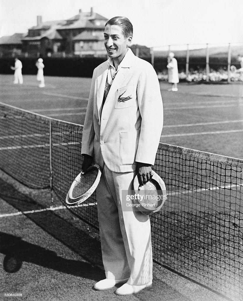 Rene Lacoste Standing in Front of Net
